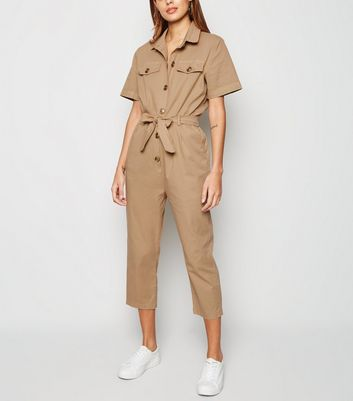 Urban Bliss Camel Button Up Belted Jumpsuit New Look
