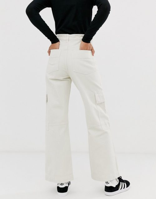 Weekday jeans co-ord with drawstring detail in tinted ecru