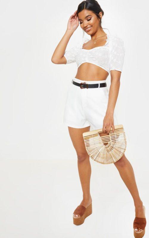 White Crochet Bardot Puff Sleeve Crop Top, White