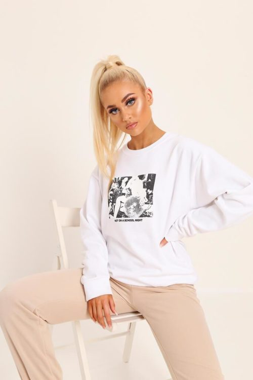 White Not On A School Night Oversized Crew Neck Sweatshirt - XS / WHITE