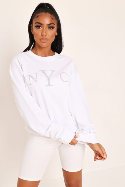 White Nyc Printed Sweatshirt - XS / WHITE