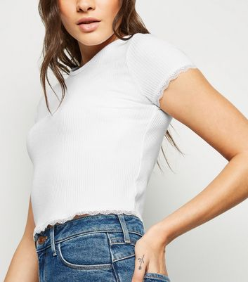 White Ribbed Lace Trim T-Shirt New Look