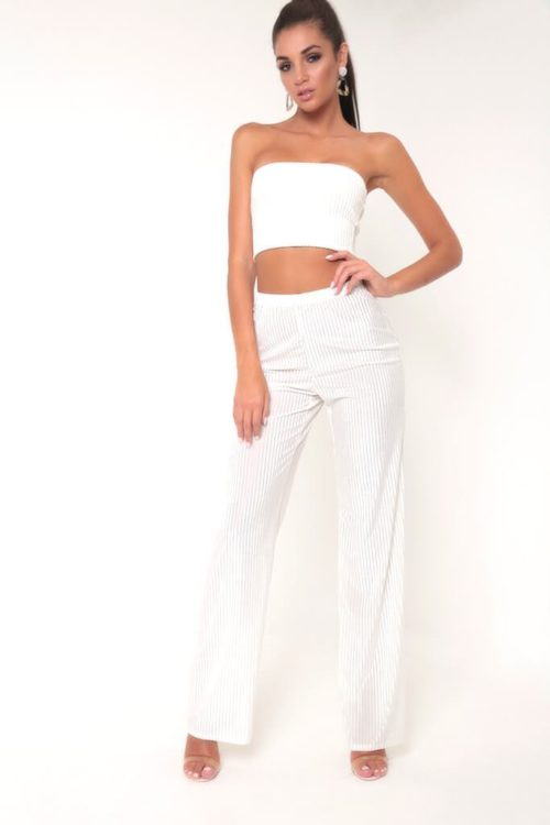 White Velvet Ribbed Wide Leg Trousers - 6 / WHITE