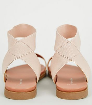Wide Fit Nude Elastic Strap Footbed Sandals New Look