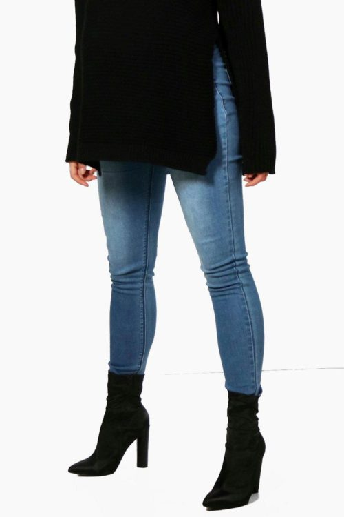 Womens Boohoo Maternity Ivy Skinny Over The Bump Jeans - Blue