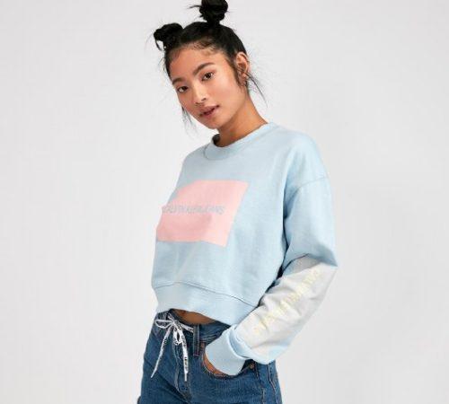 Womens Boxy Cropped Logo Sweatshirt
