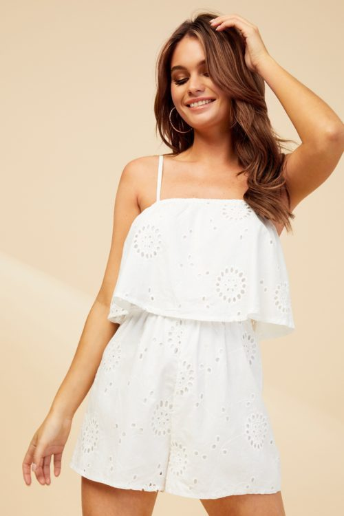 Womens Missguided Cami Broderie Frill Playsuit - White