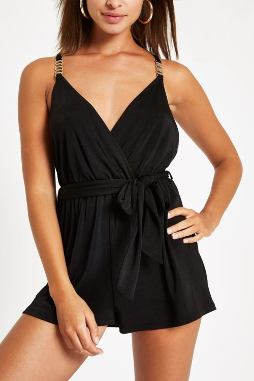 Womens River Island Black Jersey Plunge Playsuit - Black