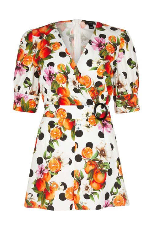Womens River Island Fruit Spot Puff Sleeve Buckle Playsuit - Natural