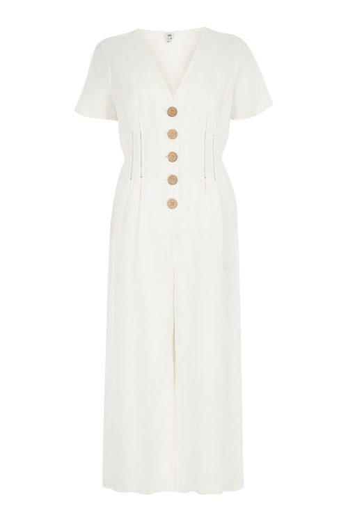 Womens River Island White Tinker Romper Button Through Jumpsuit - White
