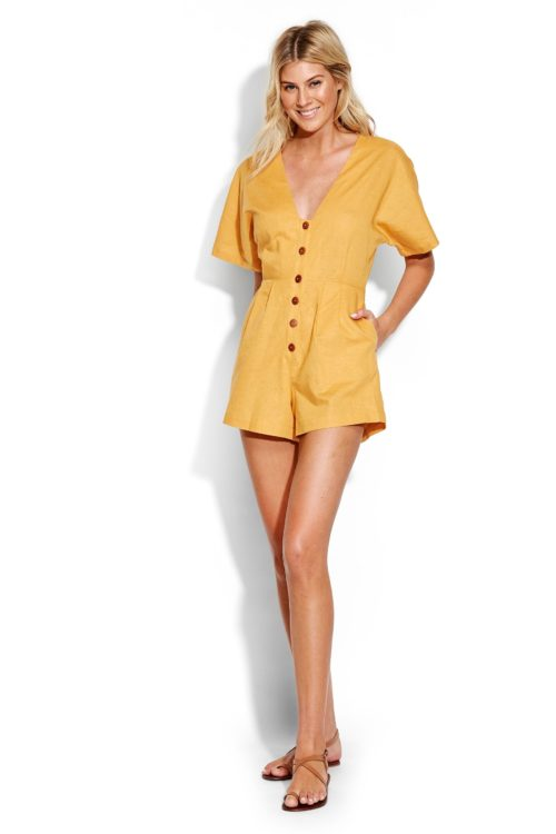 Womens Seafolly Gold Button Up Playsuit - Gold