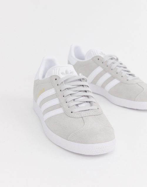 adidas Originals grey and white Gazelle trainers
