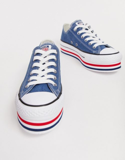 converse chuck taylor all star platform layer blue trainers
