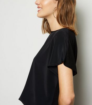Black Satin Front Jersey Back T-Shirt New Look