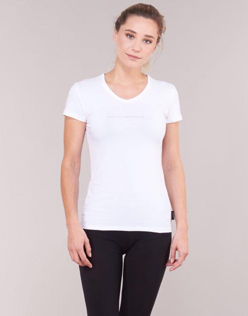 Emporio Armani CC317-163321-00010 women's T shirt in White. Sizes available:EU S,EU M,EU L