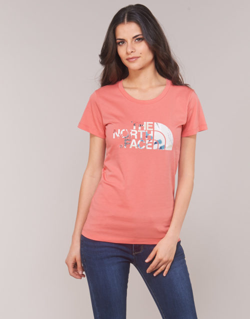 The North Face WOMEN'S S/S EASY TEE women's T shirt in Orange. Sizes available:S,XS