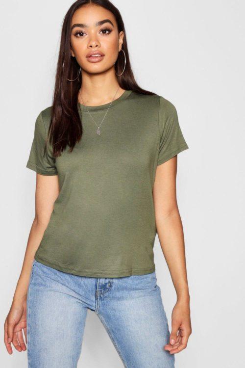 Womens Basic Crew Neck T-Shirt - green - 16, Green