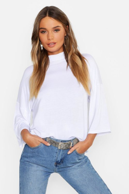 Womens Basic Oversized High Neck 3/4 Sleeve T-Shirt - white - 14, White