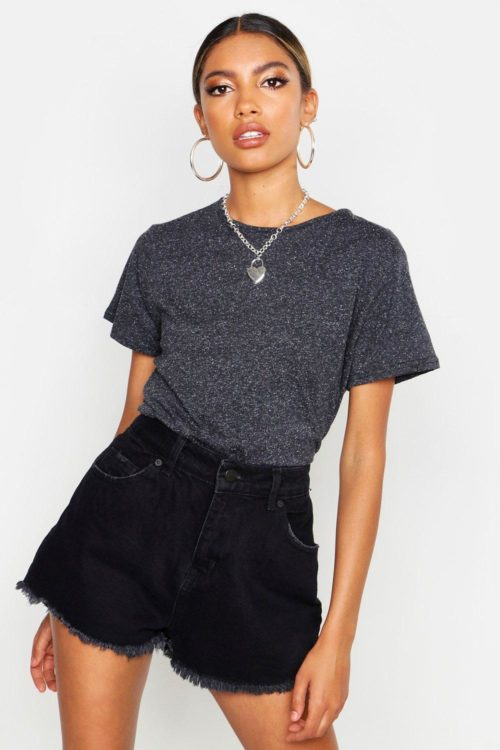 Womens Cotton Elastane Cap Sleeve T- Shirt - black - 10, Black
