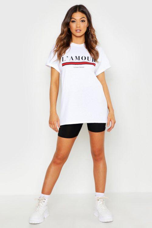 Womens L'amour Slogan T-Shirt - white - L, White