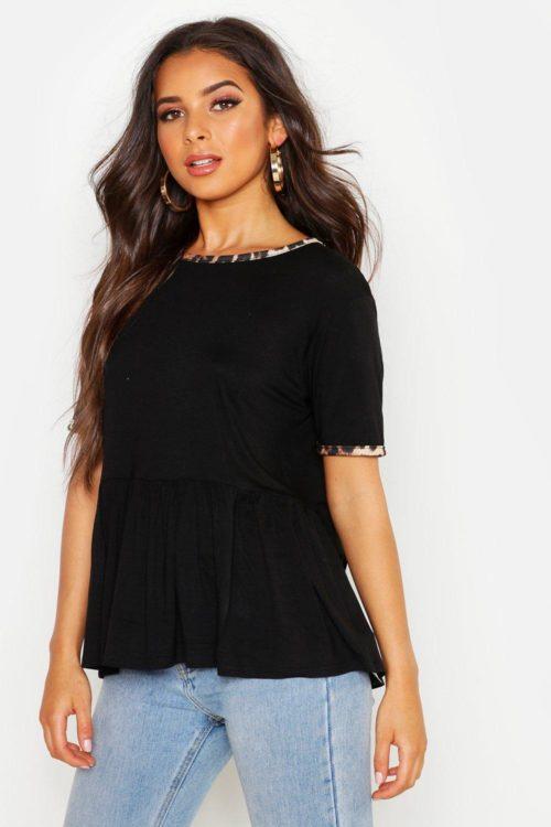 Womens Leopard Ringer Smock T-Shirt - black - 12, Black