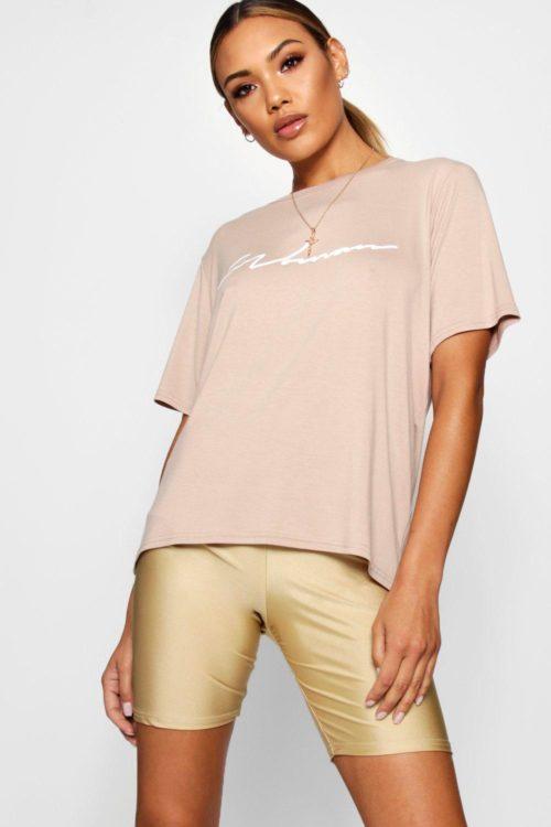 Womens Oversized Slogan Woman T Shirt - beige - 12, Beige