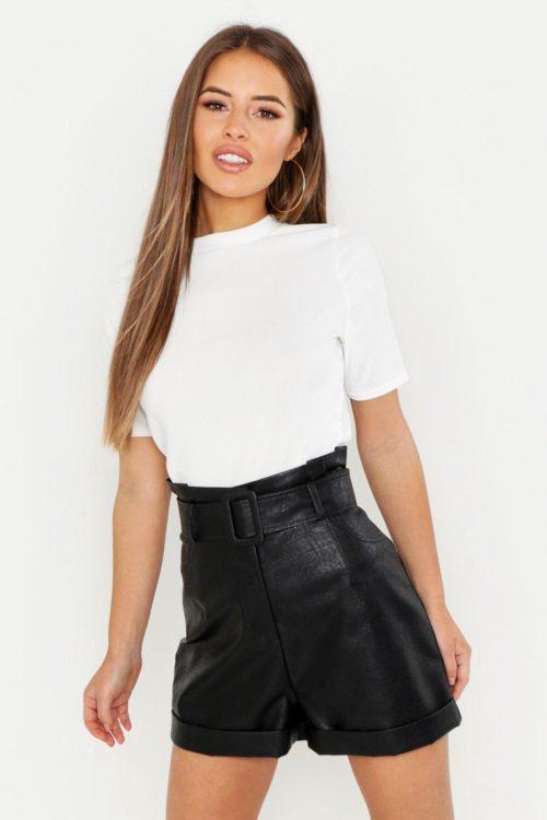 Womens Petite Ribbed Basic T Shirt - white - 4, White