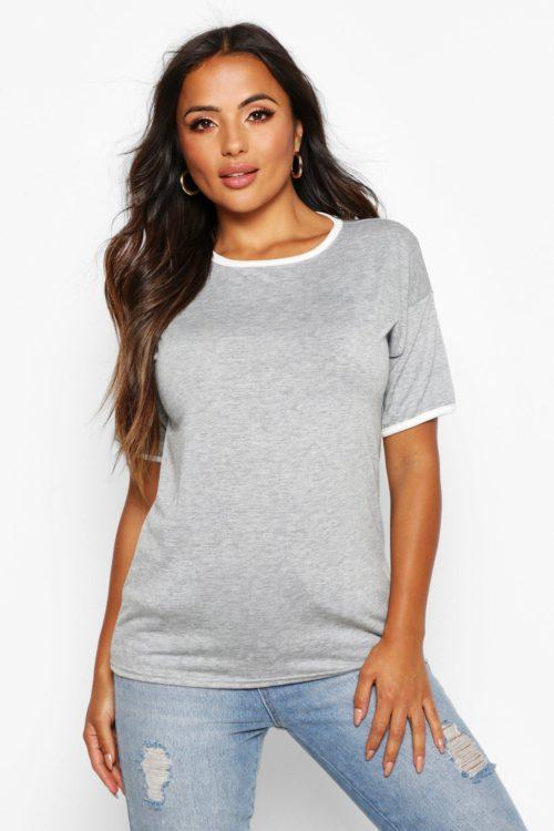 Womens Petite Tonal Ringer T-Shirt - grey - 10, Grey