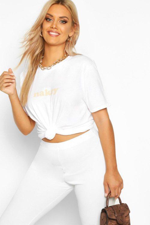 Womens Plus Nakey Slogan T-Shirt - white - 20, White