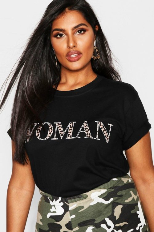 Womens Plus Woman Leopard Oversized T Shirt - black - 20, Black