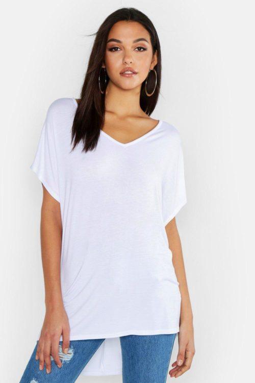Womens Tall V-Neck Basic T-Shirt - white - 8, White