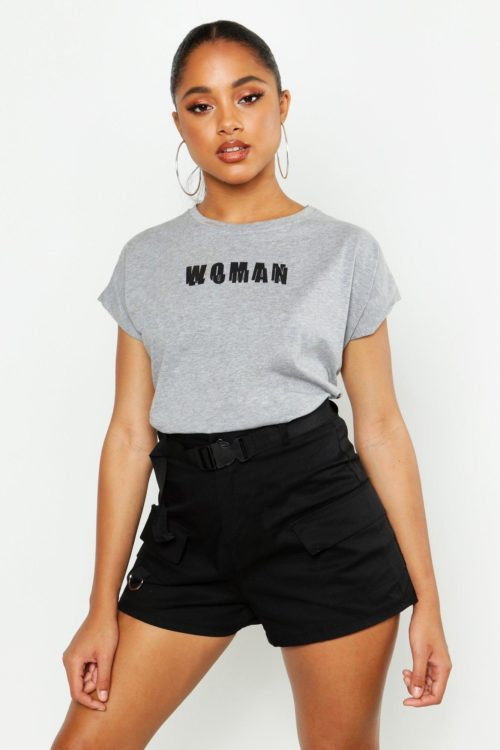 Womens Woman Cap Sleeve Slogan T Shirt - grey - 10, Grey