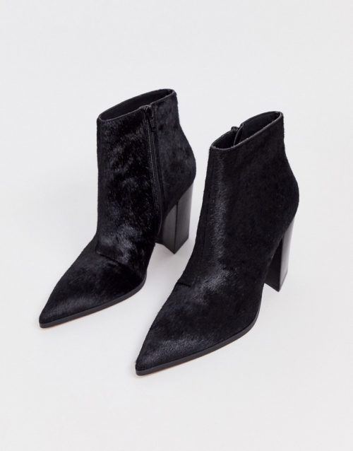 ASOS DESIGN Elude leather pointed heeled boots in black