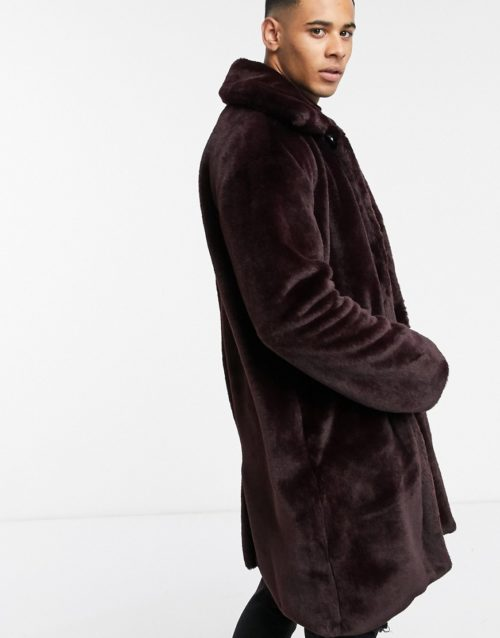 Another Influence unisex faux fur jacket in burgundy-Red