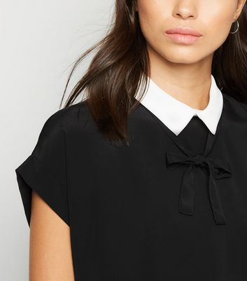 Black Collared Short Sleeve Blouse New Look