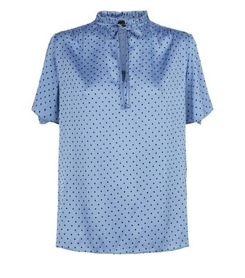 Blue Flocked Spot High Neck Blouse New Look