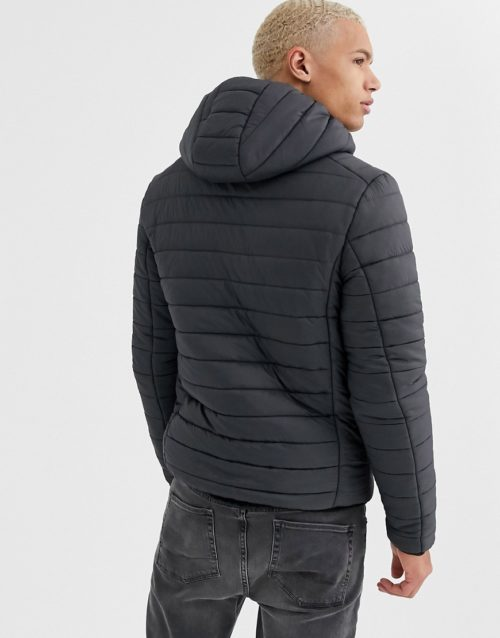 Brave Soul Tall hooded puffer jacket in grey