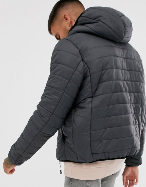 Brave Soul hooded puffer jacket in grey
