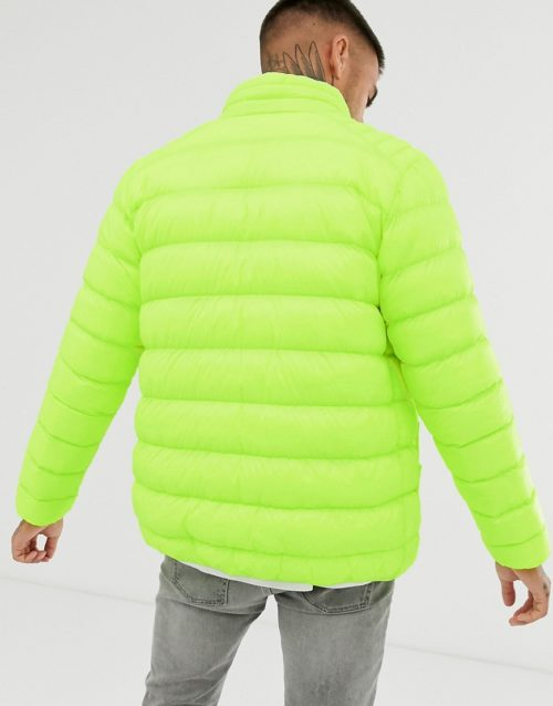 Brave Soul puffer jacket in yellow-Red