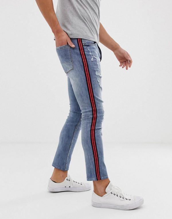 Brave Soul skinny jeans with taping-Blue