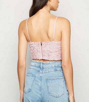 Cameo Rose Pale Pink Textured Crop Top New Look