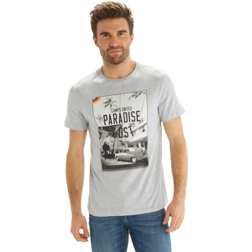 Camps United Short sleeve printed t-shirt men's T shirt in Grey. Sizes available:EU XXL,EU S