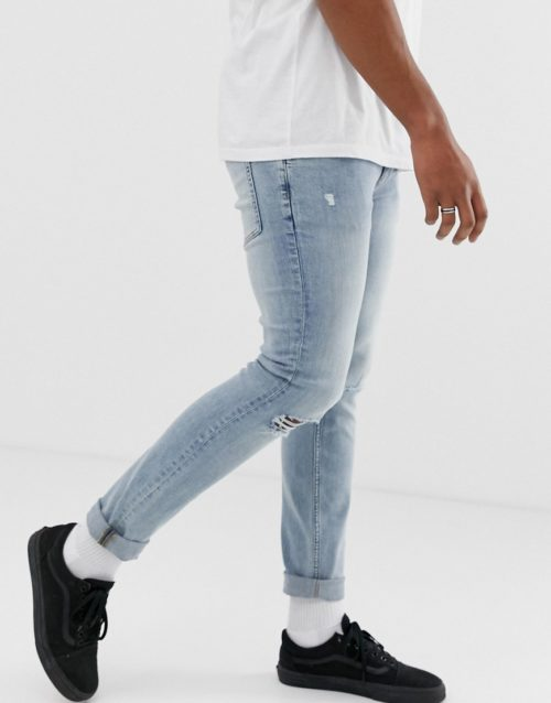 Cheap Monday tight jeans with ripped knees-Blue