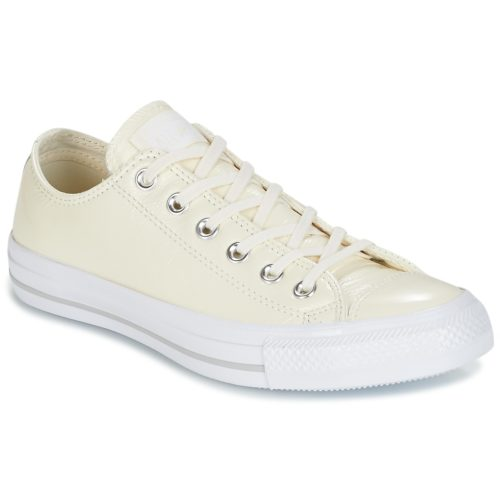 Converse CHUCK TAYLOR ALL STAR CRINKLED PATENT LEATHER OX EGRET/EGRET/WHI women's Shoes (Trainers) in White. Sizes available:3.5,5,7.5
