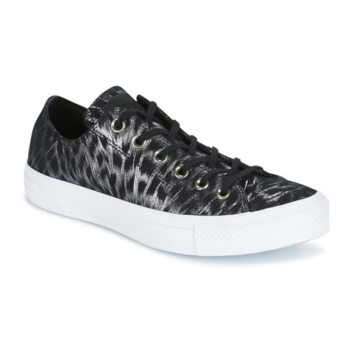 Converse CHUCK TAYLOR ALL STAR SHIMMER SUEDE OX BLACK/BLACK/WHITE women's Shoes (Trainers) in Black. Sizes available:3.5,4,5,6,6.5,7.5