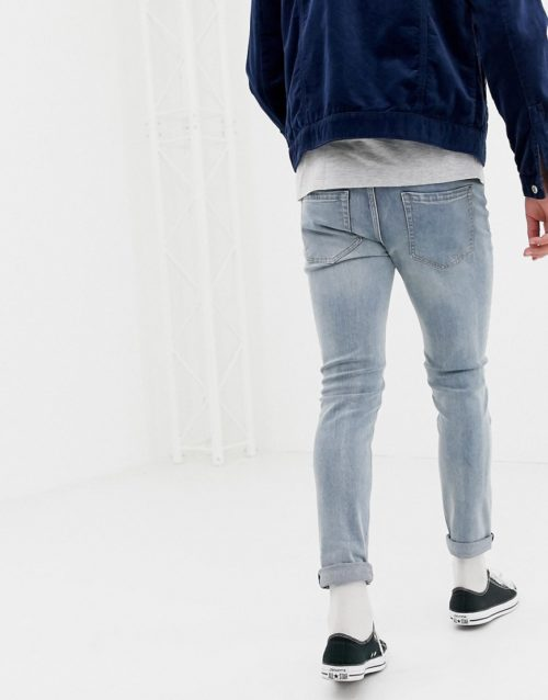 D-Struct skinny fit ripped knee denim jeans in light blue-Stone