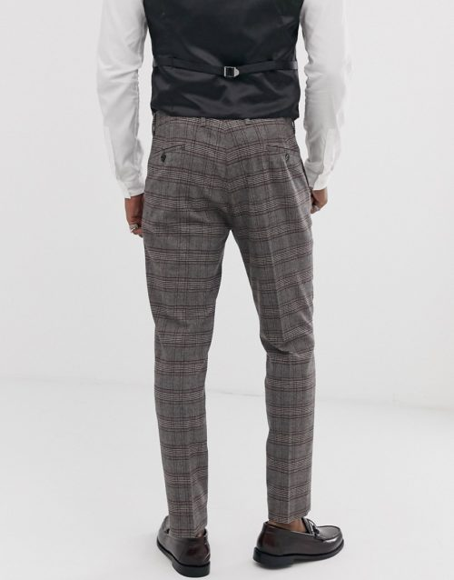 Devils Advocate skinny fit brown check cropped suit trousers