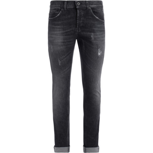 Dondup jeans, George model, washed gray with cracks men's Jeans in Black