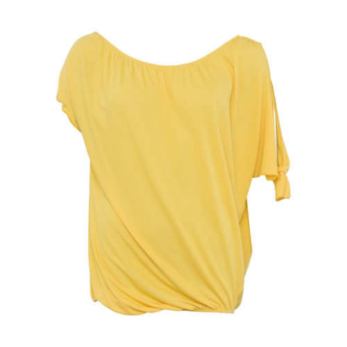 French Connection Asymmetrical Tunic Crew Neck Short Sleeves women's Blouse in Yellow. Sizes available:EU S,UK XS