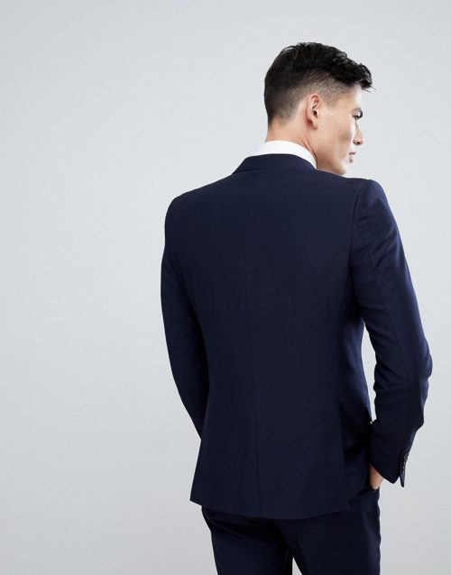 French Connection Birdseye Weave Slim Fit Suit Jacket-Navy